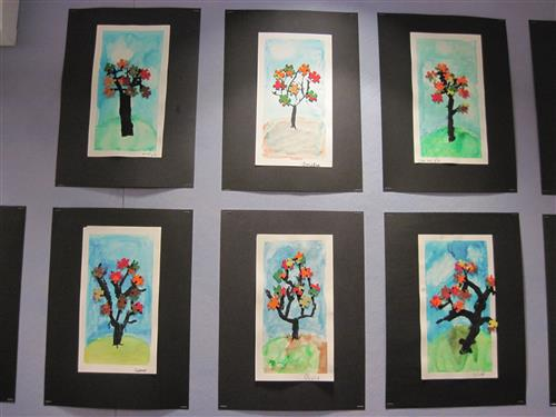 student artwork, water color trees