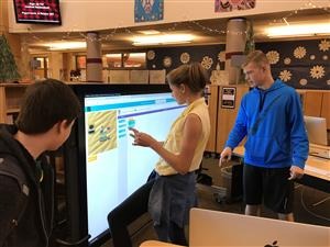 Wilsonville High School students partake in an Hour of Code activity.