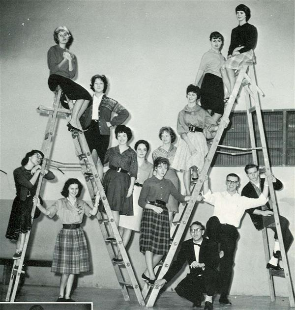 1961 Thespians on ladder
