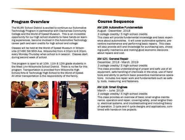 Auto Tech Program brochure