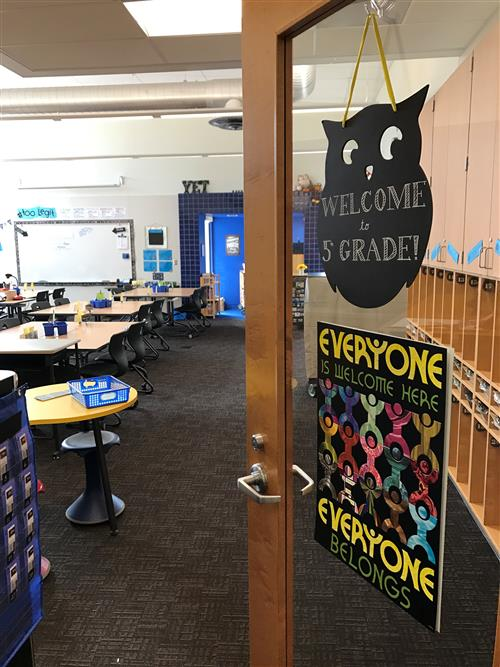 open door to Mrs. Fennell's classroom