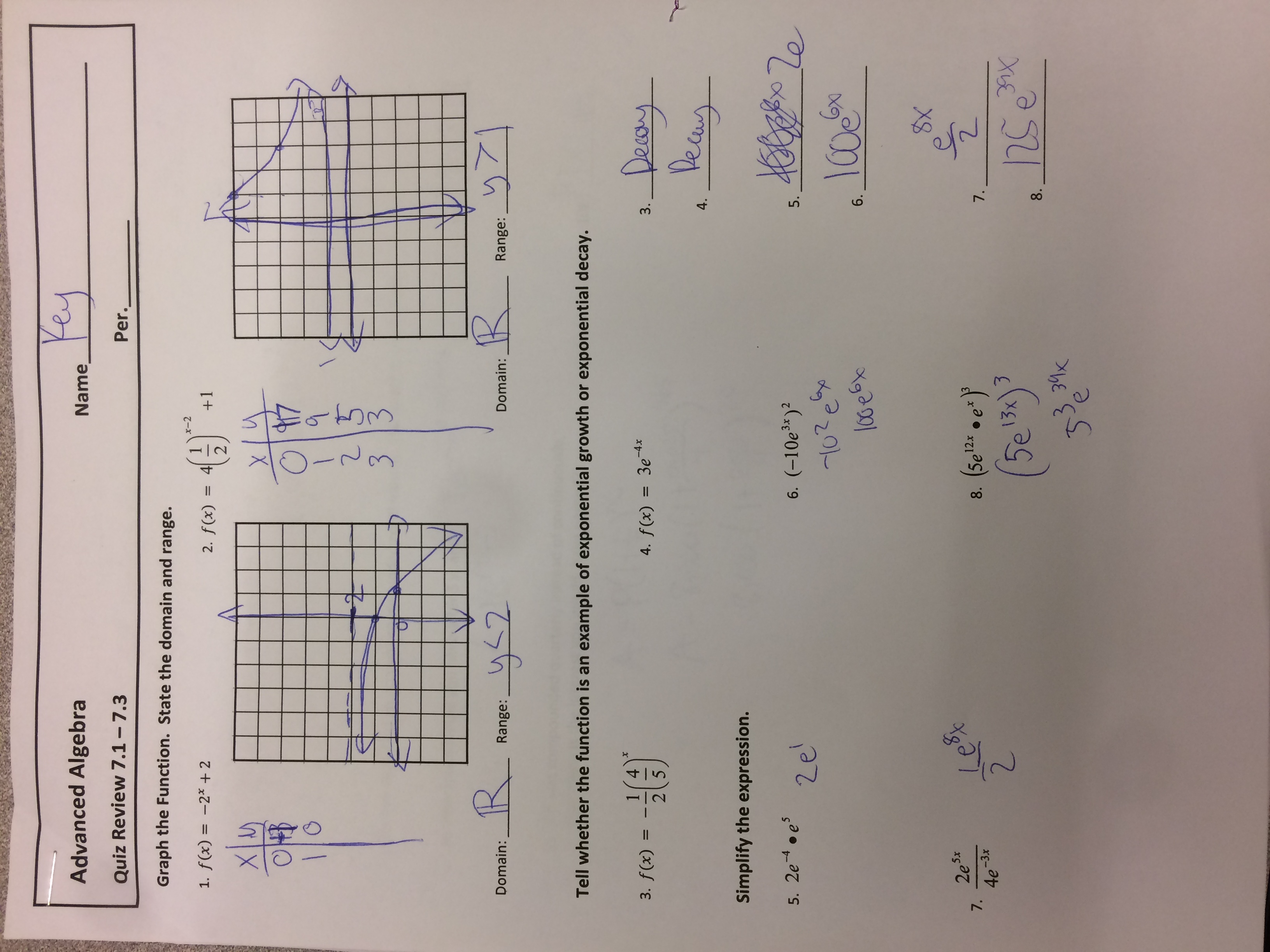 algebra 1 quarter 3 test answers