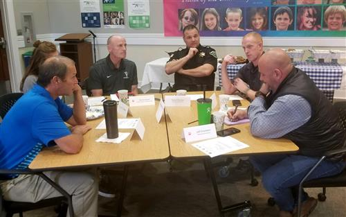 Local partners work through high school athletic event safety on Oct. 3.