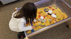 Preschooler playing in touch table filled with corn kernels.