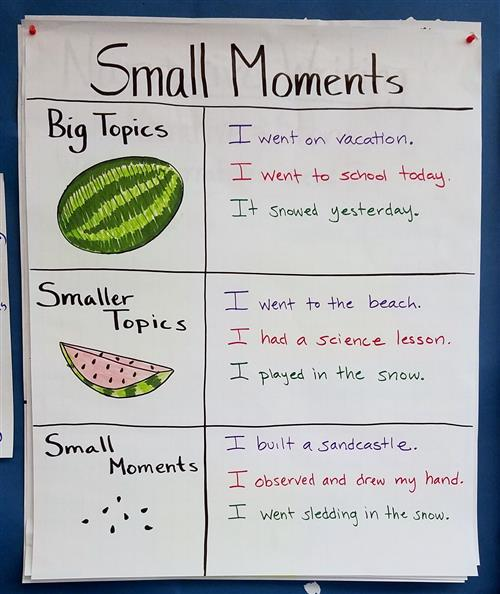 Small Moments Chart with samples of Big Topic. I went on Vacation. Smaller Topics - I went to the beach and small moments.