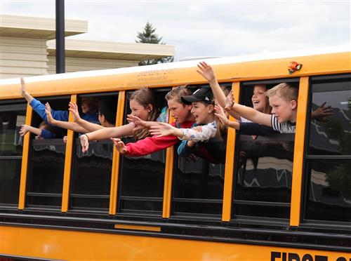 Lowrie Primary students wave goodbye to teachers on the last day of school June 14, 2018.