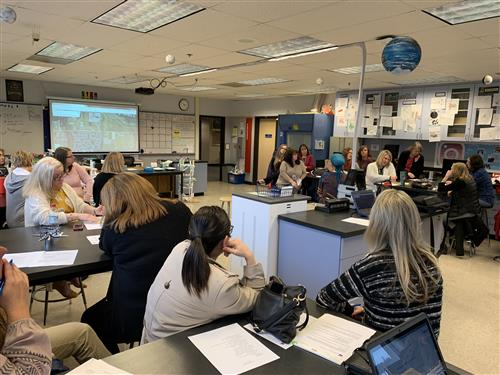 West Linn-Wilsonville Office Staff collaborate during Professional Growth Wednesday on Jan. 16.