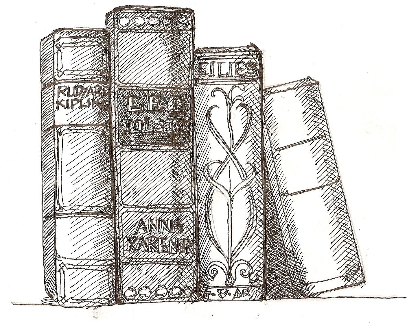 line drawing of books