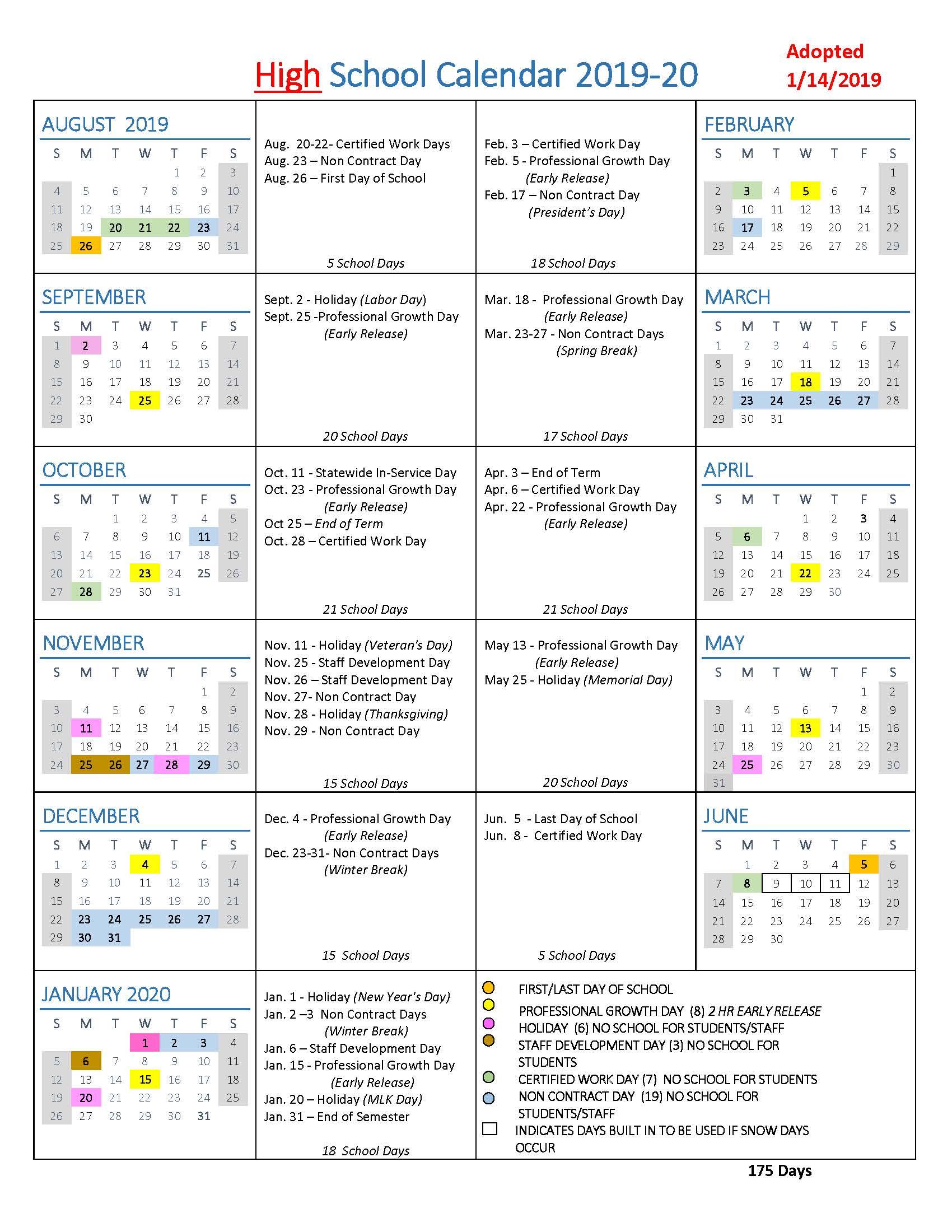 Public School Calendar 2016-2020 School Year Calendars / WLWV School Calendars