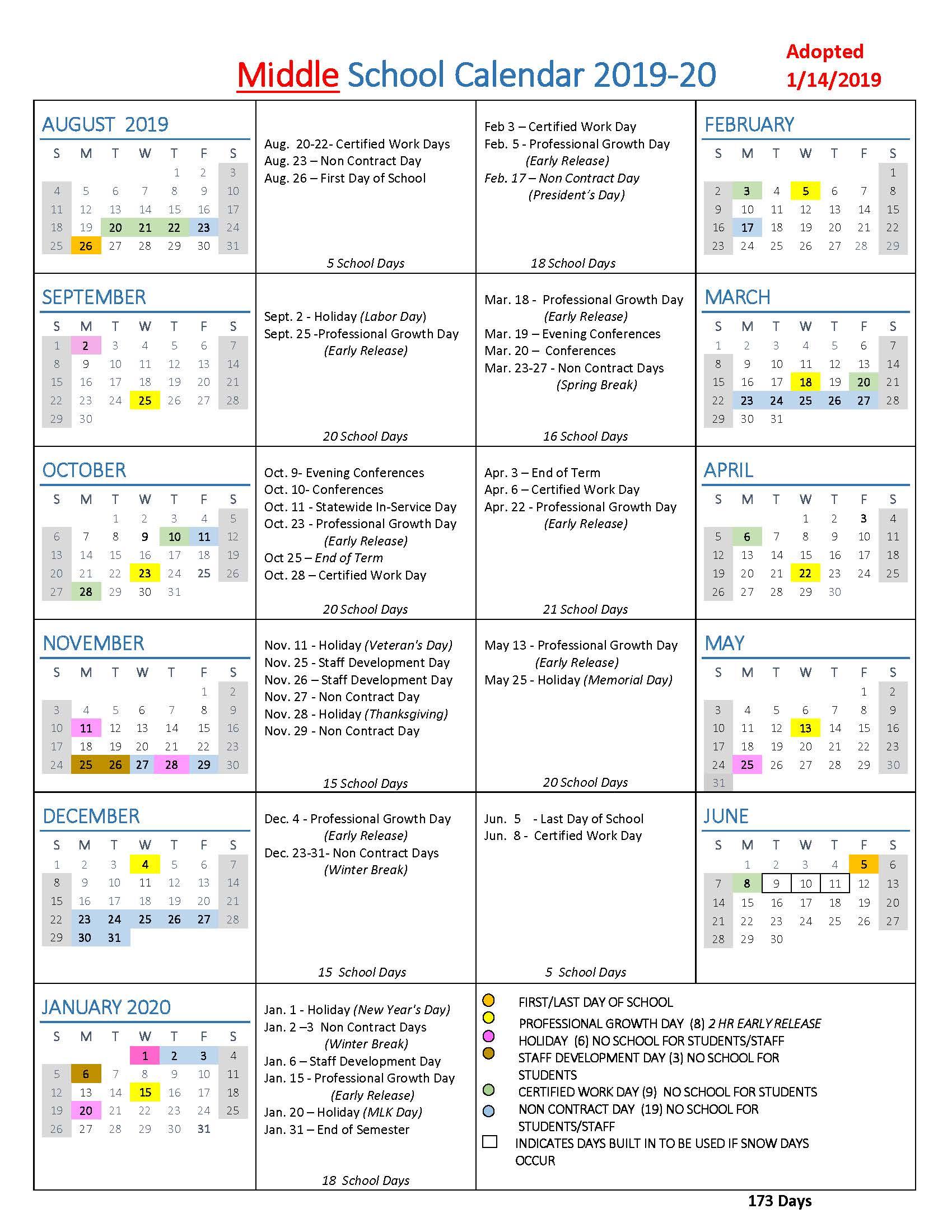 Us Calendar 2019.School Year Calendars Wlwv School Calendars