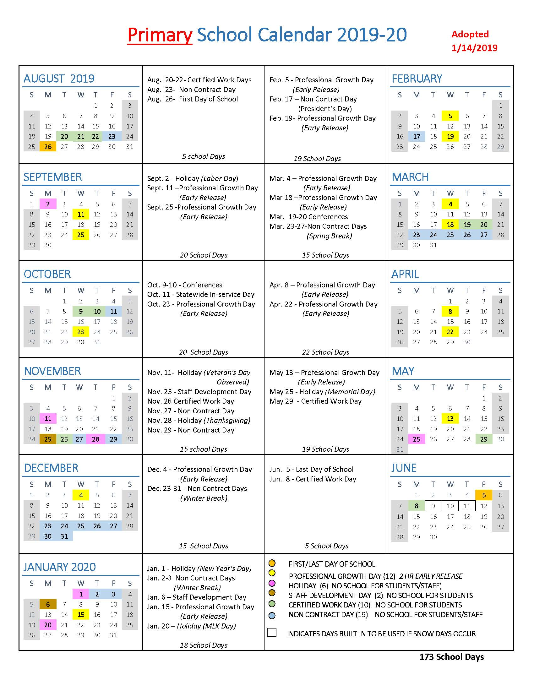 School Calendar 2014 To 2020 School Year Calendars / WLWV School Calendars