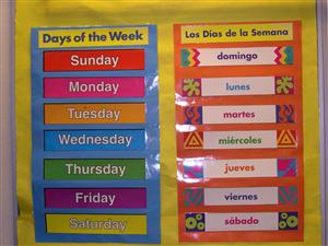 Poster showing the translations of the days of the week from English to Spanish
